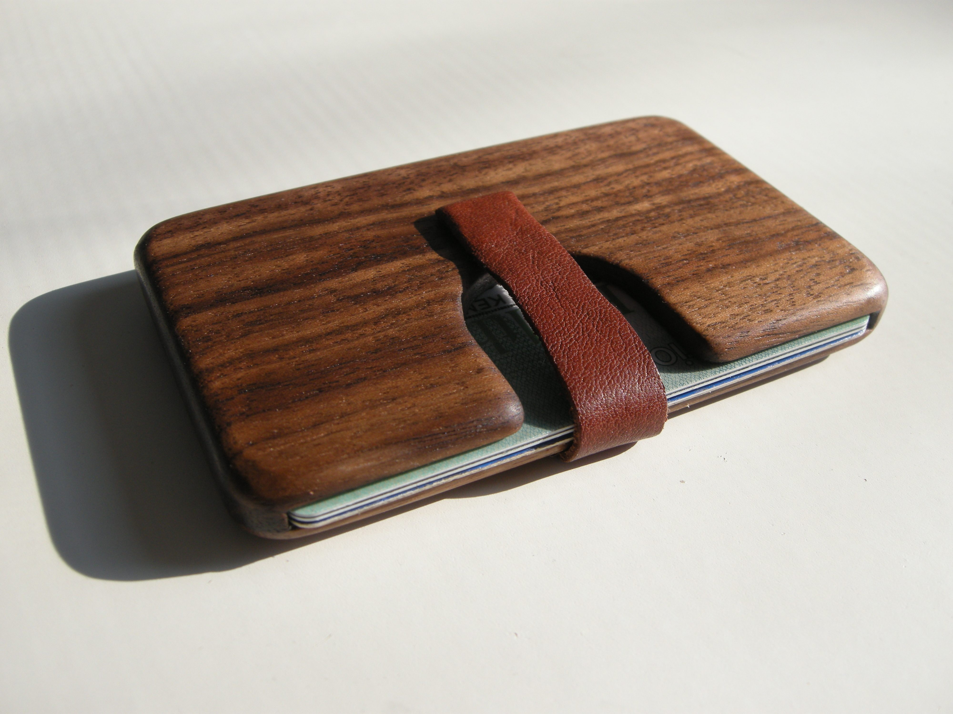 Wooden business card holder Leather