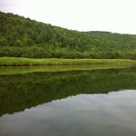 Canoeing on the Margaree River, Cape Breton Island.