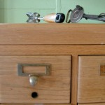 Our original Card Catalogue with vintage egg beater drills. Which came first, the egg beater or the drill ?