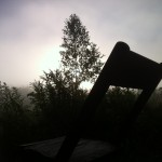 Misty morning funeral chair.