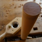Maple dowel after threading.